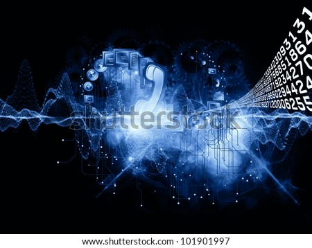 Composition of communication symbols, gears and abstract design elements as a concept metaphor on subject of global communications, messaging, information exchange and modern technologies - stock photo