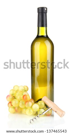 Composition of corkscrew and bottle of wine, grape, isolated on white - stock photo