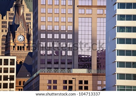 Composition of downtown Milwaukee buildings. City Hall on the left. - stock photo