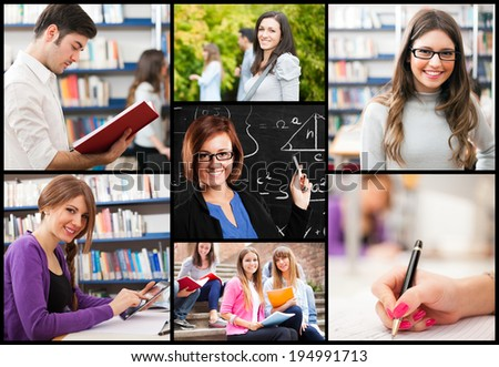 Composition of education related images - stock photo