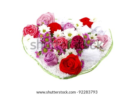 composition of flowers in the form of a heart - stock photo