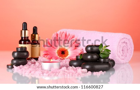 Composition of funds for their care on bright background. Spa. - stock photo