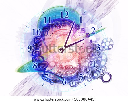 Composition of gears, clock elements, dials and dynamic swirly lines on the subject of scheduling, temporal and time related processes, deadlines, progress, past, present and future - stock photo