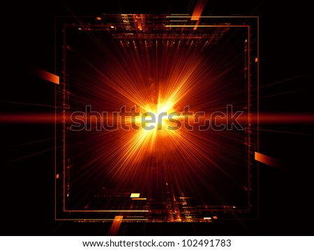 Composition of grids, lights, mathematical line patters and fractal nebulae as a concept metaphor on subject of math, science, theoretical physics  and modern technologies - stock photo