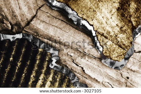 Composition of grunge layers of old cardboard and retro style parts of faces - stock photo