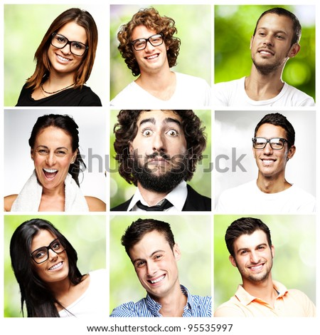 composition of happy young people over nature background - stock photo