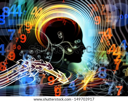 Composition of human feature lines and symbolic elements on the subject of human mind, consciousness, imagination, science and creativity - stock photo