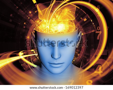 Composition of human head and symbolic elements with metaphorical relationship to human mind, consciousness, imagination, science and creativity - stock photo