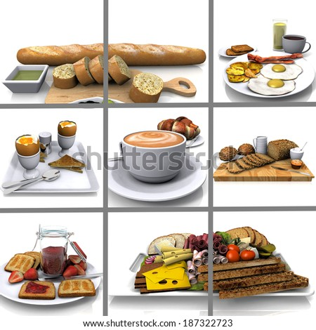 composition  of images of breakfast - stock photo