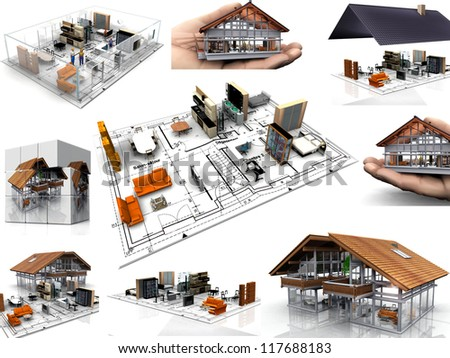 composition  of images of houses - stock photo