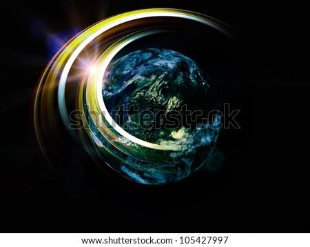 Composition of light trails, satellite imagery (courtesy of NASA) and lights on the subject of science, progress and global technologies - stock photo
