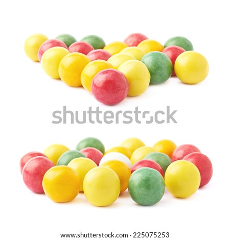 Composition of multiple chewing gum balls isolated over the white background, side view foreshortenings, set of two images - stock photo