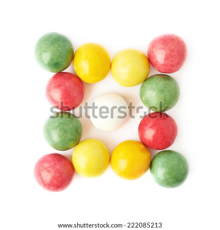 Composition of multiple chewing gum balls isolated over the white background, top view above - stock photo
