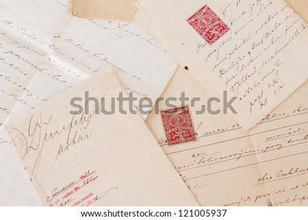 composition of old handwritten text agreements or contract - stock photo