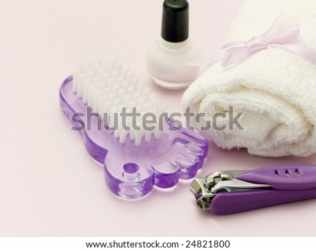 Composition of pedicure tools - stock photo