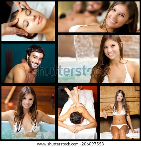 Composition of people relaxing in a spa  - stock photo