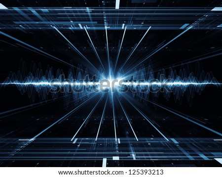 Composition of perspective fractal grids, lights, mathematical wave and sine patterns with metaphorical relationship to modern technologies, signal processing, music and entertainment - stock photo