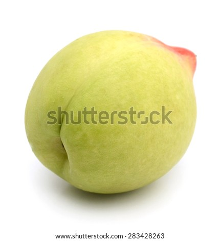 composition of ripe juicy peach, nectarine isolated on white background - stock photo