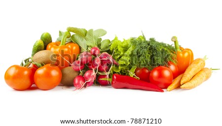 Composition of ripe vegetables on white background - stock photo
