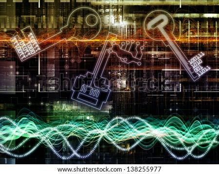 Composition of sine wave, key symbol and fractal design elements on the subject of encryption, security, digital communications, science and technology - stock photo