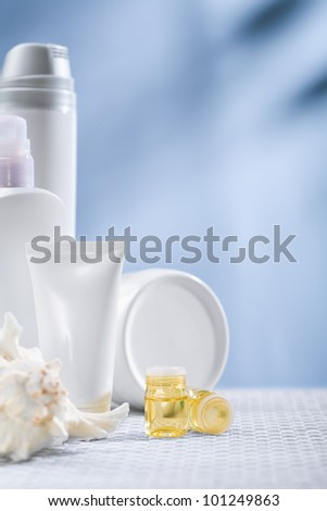 composition of skincare items - stock photo