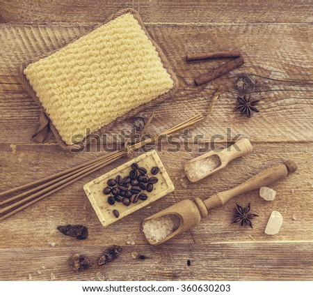 Composition of spa treatment on the wooden table - stock photo