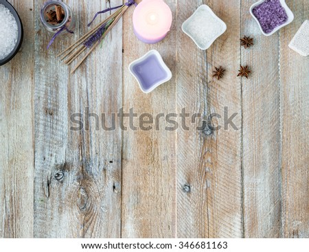 Composition of spa treatment on the wooden table with space for text. Top view - stock photo