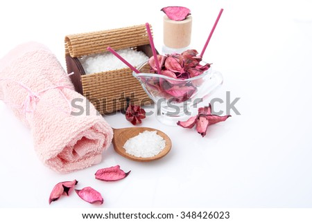 Composition of spa treatment on white background - stock photo
