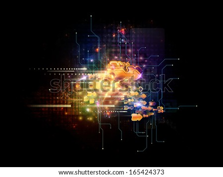 Composition of symbols, lights, fractal elements with metaphorical relationship to digital communications, science and virtual cloud technology - stock photo