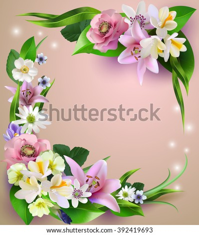 Composition of the delicious spring flowers for design of postcards, brochures, banners, flyers,, on a plane surface,raster version - stock photo
