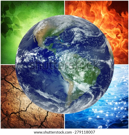 composition of the four natural elements and Earth.  Elements of this image furnished by NASA. - stock photo