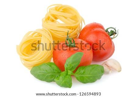 Composition of: tomato, tagliatelli, garlic and  basil Isolated on white background. - stock photo