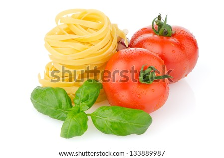 Composition of: tomato, tagliatelli, garlic and  basil Isolated on white background. - stock photo