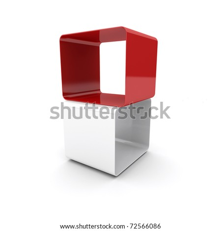Composition of two cubes - stock photo