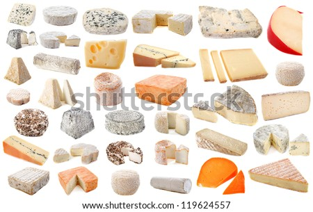composition of various cheeses in front of white background - stock photo