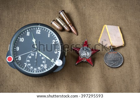composition of Victory Day. order, medal, live ammunition, aviation onboard watch. May 9 - stock photo