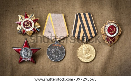 composition of Victory Day. orders, medals. - stock photo