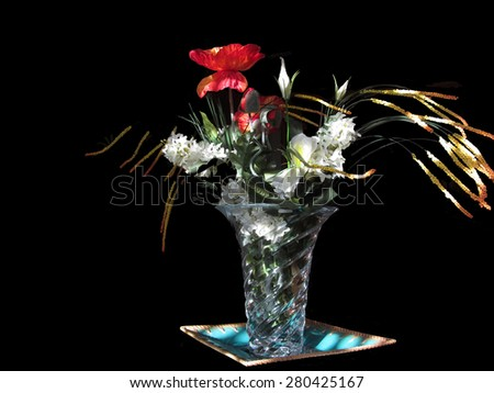 Composition of white roses and red poppies on black background - stock photo