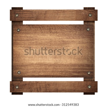 Composition of wooden board screwed on frame - stock photo