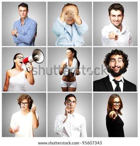 composition of young people joking over grey background - stock photo