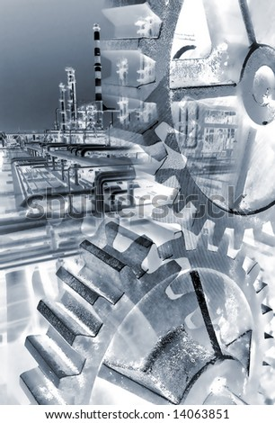 Composition regarding technology of a refinery plant. - stock photo