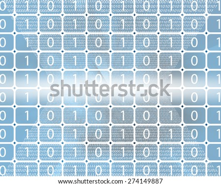 Composition, which depicts a computer abstraction in binary form in cyberspace. - stock photo