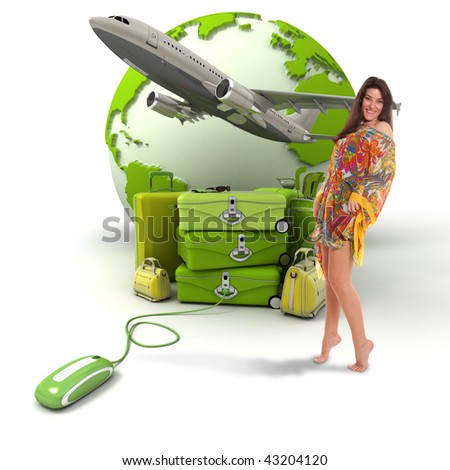 Composition with a girl in summer attire, a pile of luggage, a plane taking off and the world map, connected to a computer mouse - stock photo