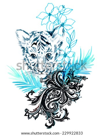 composition with baby tiger, oriental paisley, exotic palm leaves and tropical flowers in outline and watercolors illustration. - stock photo