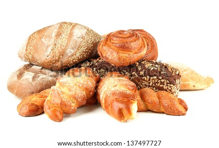 Composition with bread and rolls, isolated on white - stock photo