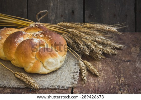 Composition with bread in retro style - stock photo