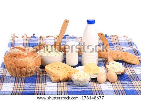 Composition with bread ,milk and cheese Isolated on white background. - stock photo