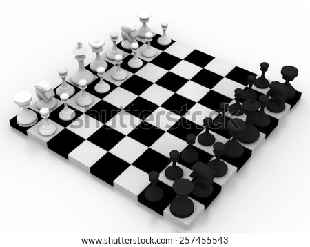 Composition with chessmen on glossy chessboard - stock photo