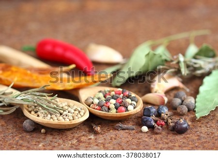 composition with different spices - stock photo