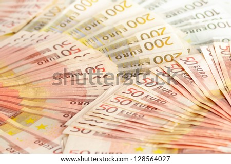 Composition with Euro banknotes. European Union currency - stock photo